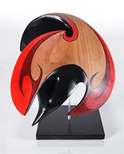 Medium: macrocarpa, hematite eyes, painted MDF base. Size: 12 x 10 x 9 inches incl. base. A large handsome bird with a lustrous black plumage and a raucous voice, the raven, a member to the crow family, is widely distributed throughout the world. For fame and renown the Raven has few rivals in the bird kingdom.