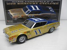 1968 MARIO ANDRETTI #11 BUNNELL MOTOR COMPANY MERCURY CYCLONE *AUTOGRAPHED* 1/24 UNIVERSITY OF RACING LEGENDS DIECAST