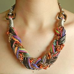 braided chain/ribbon chunky necklace sold on Etsy...want to make this!