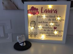 Creative Ideas of Fabric & Co Personalized Birthday Gifts, LED Picture . Licht Box, Baby Tie, Personalized Birthday Gifts, Neckerchiefs, Shadow Box, Picture Frames, Kids, Crafts, Babys