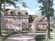 Plan Colonial with Open Floor Plam Stone House Plans, Best House Plans, House Floor Plans, Colonial Exterior, Colonial House Plans, Craftsman House Plans, Mountain House Plans, Georgian Homes, Open Floor
