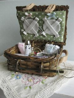 Picnic Basket set with Vintage Picnic Blanket    by NoaMiniatures