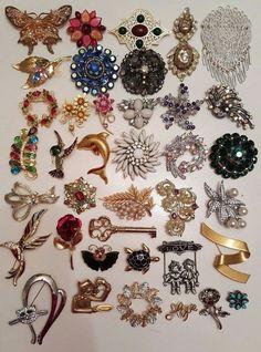 37 Vintage & Modern Brooch Lot RHINESTONE Coro Crown Trifari Cerrito Sarah Cov #vintage #jewelry #ebay #fashion #rhinestone