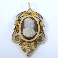 9k Yellow Gold Victorian Cameo Pendant. - $390