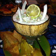 Ono Ceviche in a coconut At Mama's Fish House, Maui