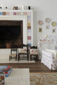 Inspiring Home in Uruguay via - patchwork of pretty tiles on fireplace surround Azulejos Art Nouveau, Art Nouveau Tiles, Villa Design, House Design, House Tiles, Pretty Room, Fireplace Surrounds, Home Decor Trends, Decorating Your Home