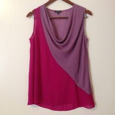 EUC. Great blouse! Naked Zebra, size small Naked Zebra, pink and purple blouse, sheer, scoop neck, sleeveless, hand wash cold, 100% polyester. Naked Zebra Tops Blouses