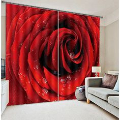 Alicemall Romantic Dewy Red Rose 3D Blackout Curtain Statement Flower Print Window Drapes For Home Decor, 2 Panels