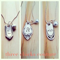 Custom VINTAGE SPOON initial necklace, personalized jewelry on Etsy, $20.00