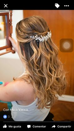 - Halb hoch halb runter Idee - Nora K. - Halb hoch halb runter Idee - Nora K. Wedding Hair Down, Wedding Hair And Makeup, Hair Makeup, Wedding Hair Pins, Wedding Updo, Gown Wedding, Bride Hairstyles, Down Hairstyles, Cute Hairstyles