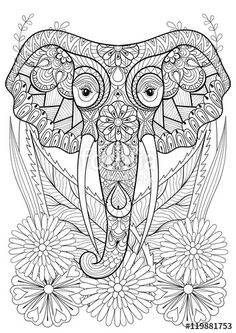 Zentangle Stylized Elephant Head On Flowers Hand Drawn Ethnic Animal For Adult Coloring Pages Art Therapy Boho T Shirt Patterned Print Posters