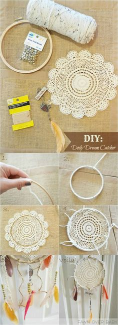 65 Ideas For Diy Dream Catcher Tutorial Decoration DIY Projekte Doily Dream Catchers, Dream Catcher Boho, Dream Catcher Nursery, Baby Diy Projects, Craft Projects, Craft Ideas, Decorating Ideas, Decor Ideas, Dreamcatchers