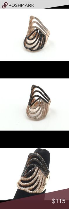 Rose Gold Plated .925 Silver Black & White CZ Ring I love this ring, looks great on and can be worn on any finger. The base metal is sterling silver, unfortunately the .925 stamp was omitted while being manufactured. I have listed the ring at a low price due to this. Jewelry Rings