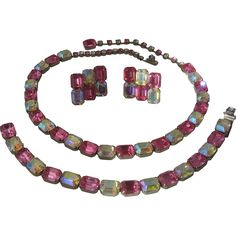 Kramer Pink Aurora Borealis Rhinestone Necklace Bracelet Earrings Parure Set $169 Mendocino Vintage RL Mar 2014