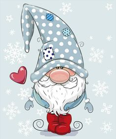 Greeting Christmas card Cute Cartoon Gnome on a blue backgroundWelcome Winter Gnome Snowflakes Winter Sign- Millions of Creative Stock Photos, Vectors, Videos and Music Files For Your Inspiration and Projects.Solve Frosty Gnome jigsaw puzzle online w Christmas Rock, Christmas Gnome, Christmas Drawing, Christmas Paintings, Welcome Winter, Illustration Noel, Illustrations, Natal Diy, Navidad Diy