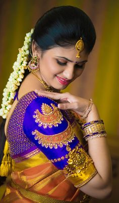 Latest Bridal Blouse Designs, Unique Modern Designs, 5 Years of Experience, All Embroidery Works, Best Price in Coimbatore & Tirupur. Indian Blouse Designs, Wedding Saree Blouse Designs, Fancy Blouse Designs, Blouse Neck Designs, Saree Wedding, Bridal Silk Saree, Sleeve Designs, Indian Bridal Photos, Indian Bridal Fashion