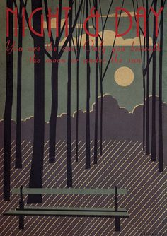 LIVING Art Deco Bauhaus A3 A2 A1 Poster Print Vintage 1920's 1930's Jazz Cole Porter Night And Day Quote Vogue Landscape Trees Moon Night Sky Dusk