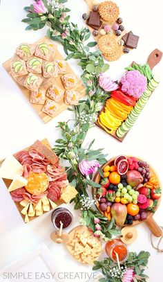 CHARCUTERIE BOARD IDEAS FOR BRUNCH :: Learn how to create Charcuterie Boards for your guests for Mother's Day, Spring, Summer, any time! Including Charcuterie Board with Fruit, Charcuterie Board with Meat and Cheese, Dessert Charcuterie Board, and more! PLUS drinks - Strawberry Fizzy Mocktail! NO Cooking Involved! #charcuterieboards #mothersdaybrunch #brunchideas #springparty #entertaining