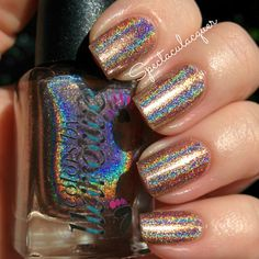Colors by Llarowe:  ☆ Blonde Ambition ☆  (Summer 2014) ... Light nude taupe strong linear holographic nail polish