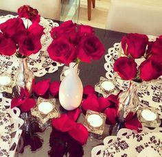 Decoração para mesa especial dia dos namorados.