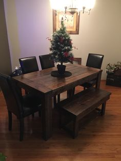 5ft Harvest leg table and bench in Dark walnut stain