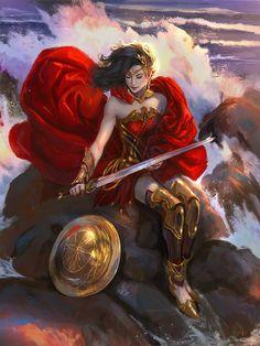 Wonder Woman by Diego Cunha Wonder Woman Art, Superman Wonder Woman, Wonder Women, Univers Dc, Arte Dc Comics, Comics Girls, Dc Heroes, Character Drawing, Female Characters