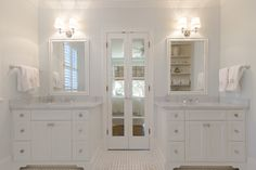 Abbey Construction - bathrooms - monochromatic bathroom, monochromatic master bathroom, barely there blue walls, pale blue walls, pale blue ...