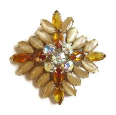Vintage JULIANA style Topaz and Taupe Givre Rhinestones Brooch with Aurora…