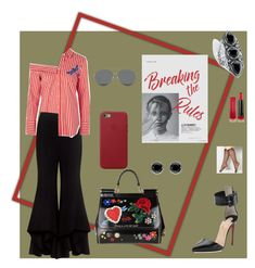 """""""Red stripes"""" by obretin-raluca on Polyvore featuring Avenue, Dolce&Gabbana, Christian Louboutin, Apple, Gentle Monster, Alexis, Topshop, Max Factor, Thomas Sabo and Palm Beach Jewelry"""