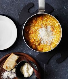 Australian Gourmet Traveller recipe for pumpkin and vermouth risotto with parmesan and mascarpone. Pumpkin Recipes, Fall Recipes, Pumpkin Soup, Pumpkin Risotto, Roast Pumpkin, Pumpkin Ideas, Summer Recipes, Parmesan, Mascarpone Recipes