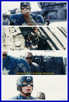 This scene in the Winter Soldier made me so happy, kind of glad they got rid of the red spandex, sorry Falcon.