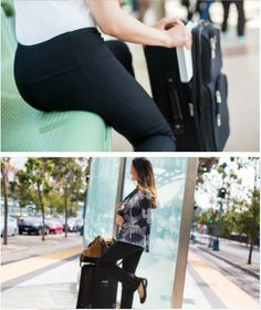Betabrand's Travel Yoga Pants | These pants were designed to make any journey a joy — even if you're stuck in the center aisle. Secret Passport pouch found in the front.