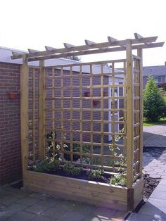 Pergola Garden Planter - Wooden Framed Arch Planter - Wooden Garden Planters way to add shade w/out attaching to house or deck. build a couple and stretch shade cloth over Pergola Planter, Privacy Planter, Backyard Pergola, Backyard Landscaping, Patio Privacy, Pergola Ideas, Privacy Screens, Pergola Kits, Privacy Trellis