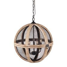 Magma Distressed Oak/Black Mesh Globe Pendant Ceiling Lamp Chandelier