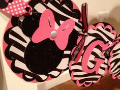 Hot Pink/Zebra Minnie Mouse Birthday Banner by MyLittleGaggle, $35.00