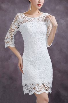 Embroidered Lace Cropped Sleeve Dress.