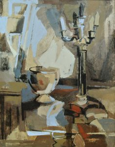 Dorothy Poulos oil on masonite painting Abstract by Gallery440