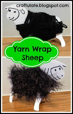 """This is a really cute activity to go along with the song """"Baa Baa Black Sheep"""". I started by cutting out a sheep outline from two pieces of card, gluing them back to back but not joining the legs together. This gives the card extra stability and then the legs can be separated at the end so that the sheep can stand up. I drew on some features.� I made two sheep, and picked two different types of black yarn (wool).� I started off one of the sheep by taping one end of the yarn to the s"""