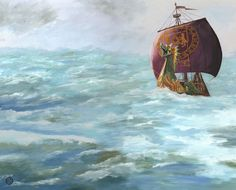 This is the best painting of the dawn treader I've seen, but it's not for sale... ugggg