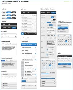 A page depicting the jQuery Mobile UI elements (as of August 2010), including buttons, tool bar, list view, etc.
