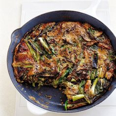 Although it makes a delightful breakfast, the frittata could also be served with a green salad for a lunch or light dinner. White button mushrooms can be substituted for the shiitakes; trim but do not remove the stems. Cook the vegetables, then add the seasoned eggs, and bake the frittata -- all in one pan.