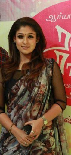 Nayantara in a printed saree Saree Blouse Designs, Blouse Patterns, Saree Styles, Blouse Styles, Indian Dresses, Indian Outfits, Simple Sarees, Plain Saree, Elegant Saree