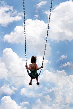 Swing, blue sky, clouds