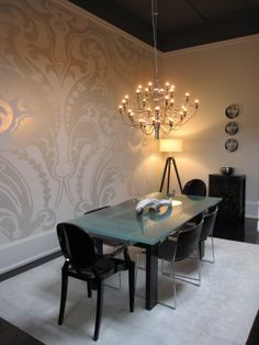 Colour me Happy metallic wallpaper, modern dining table, black ghost chairs and rug Metallic Wallpaper, Modern Wallpaper, Demask Wallpaper, Large Print Wallpaper, Wallpaper Designs, Room Wallpaper, Wall Decor, Room Decor, Modern Dining Table