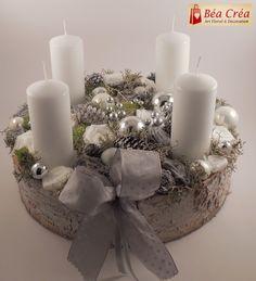 couronne de l'avent pour Noël blanche et grise avec bougies : Accessoires de maison par bea-crea