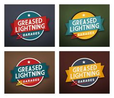"Four colour options for the new ""Greased Lightning Garages"" logo from the talented Charlie Kinross, www.charliekinross.com.au.  Pinned by Secret Design Studio, Melbourne.  www.secretdesignstudio.com"