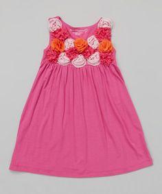 Love this Peony & Tangerine Rosette Babydoll Dress - Toddler & Girls on #zulily! #zulilyfinds