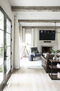Silver Satin  by Benjamin Moore in the family room at  #jetsetclient   Photo by:  Emily Kennedy Photo Wood Furniture Living Room, Living Room Wood Floor, Rustic Furniture, Living Room Decor, Living Rooms, Outdoor Furniture, Furniture Ideas, Living Spaces, Urban Furniture