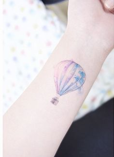 Hot air balloon watercolour tattoo
