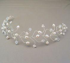 White Pearl Wedding Hair Vine Tiara Bridal Hair by BridalDiamantes, $58.00